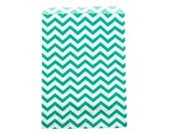 """100 Teal Chevron Merchandise Retail Paper Party Favor Gift Bags 4"""" x 6"""" Tall"""