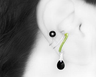 Black Swarovski Crystal Ear Cuff, No Piercing, Cartilage Earring, Peridot Wire Wrapping, Crystal Cuff,  Industrial Jewelry, Dysnomia III v4