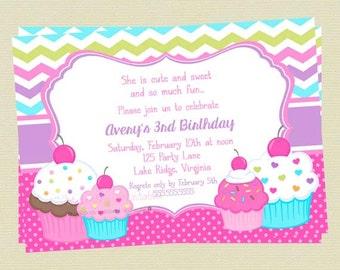 Cupcake Birthday Invitation, Sweet Treats Birthday Invitation, Personalized Custom Cupcake Invitation, DIY Printable File