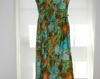 Vintage 70s Hawaiian Dress Tropical Print Maxi, Size 14