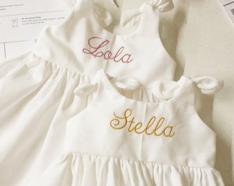 White baby dress, Monogrammed , preemie, coming home outfit, take home dress, solid white, baby shower gift, dress with monogram, baptism