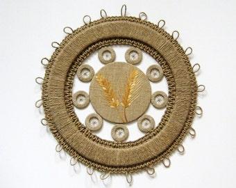Vintage Macrame Wreath - Round Macrame Wall Hanging - European Folk Art - Ear of Wheat Botanical Art - Straw Marquetry - Neutral Home Decor