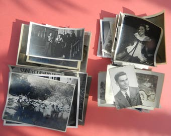Lot Of 50 Vintage Black White Snapshots Photographs: Portraits People Land City 1930s - 1950s - #25