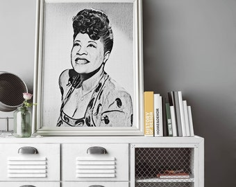 Ella Fitzgerald Painting Poster Art Painting Print Canvas Print Music Poster Canvas Poster Design Wall Art Home Gift Jazz Poster