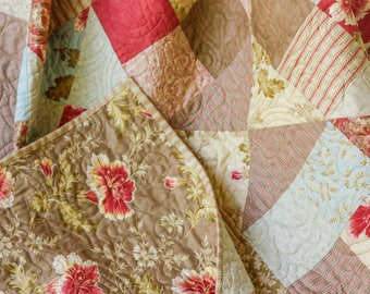 Autumn Lily Large Lap Quilt - Twin Size Coverlet - Throw Quilt - Handmade Quilt - READY-2-SHIP