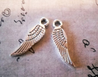 Angel Wing Charms Antiqued Silver 17mm Angel Wings 10 pieces Double Sided Wholesale Charms