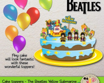 PRINTABLE - The Beatles - Yellow Submarine - Cake Toppers - JPG 300dpi