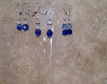 Cobalt and crystal earrings
