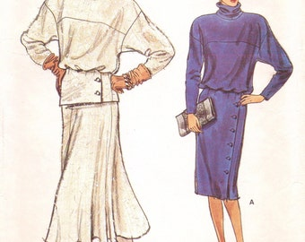 80s Womens Pullover Straight Winter Dress, Pullover Top and Flared Skirt Vogue Sewing Pattern 9104 Size 16 Bust 38 UnCut