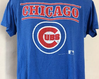 Vtg 80s Screen Stars Chicago Cubs T-Shirt Blue M/L MLB Baseball Soft Thin 50/50