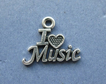 5 I Love Music Charms - I Love Music Pendant - Music - Music Charms - Antique Silver- 20.2mm x 16mm -- (N8-10028)