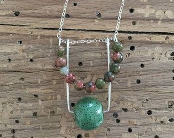 Beaded Shapes Necklace - Sterling Silver