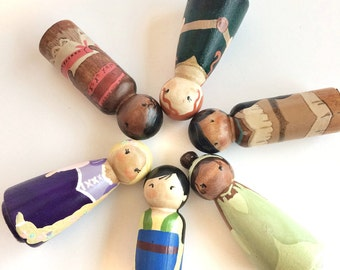 Disney Princess Doll Set of 6 / busy bag toys / quiet toys for kids / Toys for Quiet Time / wooden dolls for dollhouse / Busy Bag Toddler