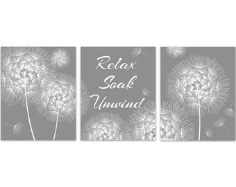 Grey Bathroom CANVAS Art, Relax Soak Unwind Bathroom Quote, Dandelion Wall Art, Dandelion Bathroom Decor, Set of 3 Bath Art Prints - BATH124