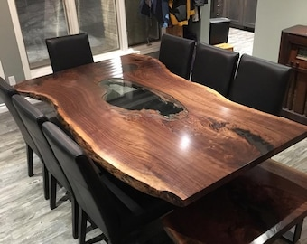Single Slab Live Edge Black Walnut Tables, Live Edge Maple Single Slab  Harvest Table,
