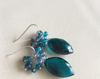 Carribbean Blue Quartz, Fluorite and Apatite Earrings in Sterling Silver
