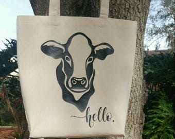 Market Tote, Hello Cow HTV, Farmers Market Shopping Tote, Craft Fair Tote, Teacher Tote, Reusable Cotton Tote, Wine Bag, Housewarming Gifts.