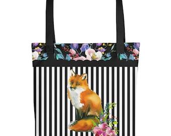 "Red Fox Floral & Stripe Design 15""x15"" Market Book Tote Bag"