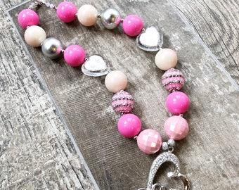 Love Heart Bubblegum Necklace, Valentine's Day Chunky Necklace, Heart Jewelry, Toddler Heart, Newborn, Photo Prop, Valentine Baby, Valentine