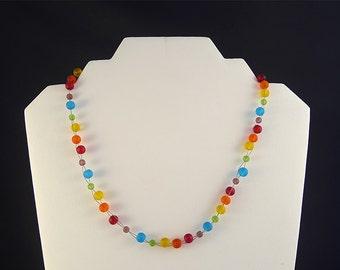 Rainbow sea glass necklace beaded seaglass jewelry sea glass jewelry rainbow seaglass necklace beach colorful jewelry colorful necklace gift