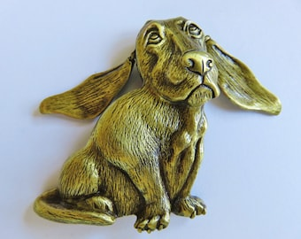JJ Jonette Bronze Bassette Hound Dog With Articulating Ears Brooch Pin