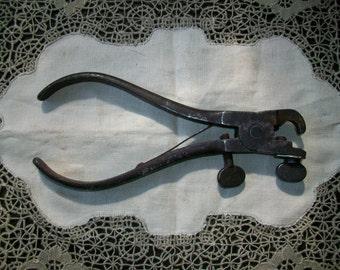 Antique Crimper Tool Rustic Metal