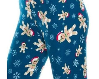 ONE Size Fits Size 2-12 Gingerbread Man Christmas Leggings