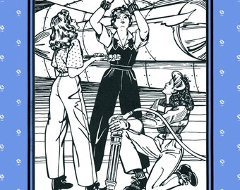 Folkwear Rosie the Riveter WWII 1940s Overalls, Shirt, Slacks Sewing Pattern #240 size 6-20