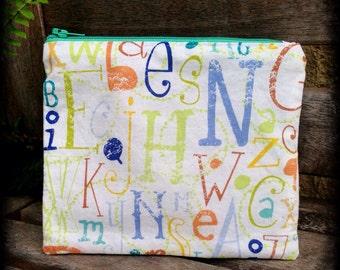 Eco-Friendly Resuable Zippered Snack Bag - Alphabet Soup (#013)