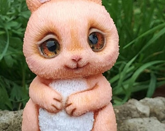 Personalized pink rabbit polymer clay for animal lovers / Handmade pink rabbit / rabbit statue / rabbit statue