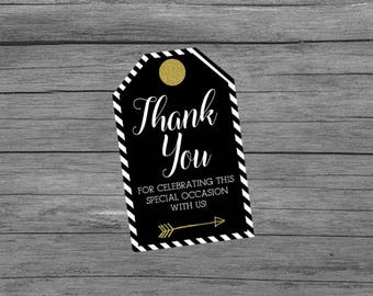 Black and Gold Thank You Tags, Black White Gold Thank You Tags, Wedding Favor Thank You Tags, Birthday Thank You Tags, Thank You Tags