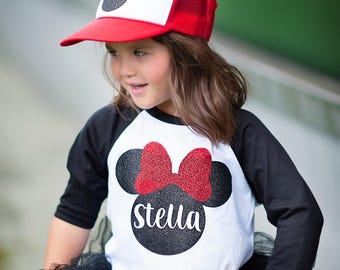 Custom Disneyland shirt, Minnie Mouse personalized shirt, Minnie Mouse shirt, Custom shirts for kids, Minnie Mouse raglan