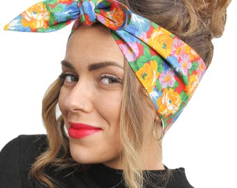 Tropical Bright Floral Land Girl Rockabilly Pinup 50s Vtg Style Head Scarf