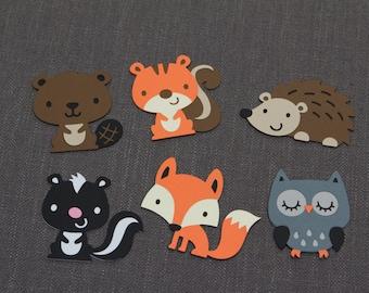 6 woodland animals Die Cut, creatures, squirrel, owl, hedgehog, skunk, fox, beaver, Scrapbooking embellishment, crafts, party decorations