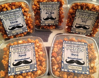 Country Wedding - Groomsman Labels - BARN - Mustache Liquor Labels - Popcorn Labels - Will you Be My - Best Man Favors - 7 Labels