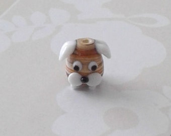 Glass Brown Swirl Dog Bead - 15 x 15 mm