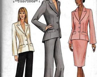 Vogue 7673 Semi-fit Jacket W/Shaped Hem, Skirt & Pants Sewing Pattern Plus Size 18, 20, 22 UNCUT