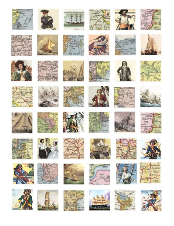 vintage world maps pirates clipart digital download collage sheet 1 inch squares vintage images pendant jewelry making printables
