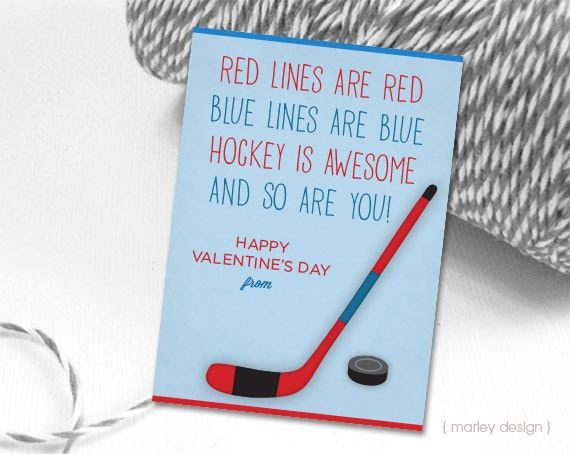 hockey valentines cards printable instant download kids