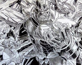 Thanos drawing format poster pens ink on a2 paper