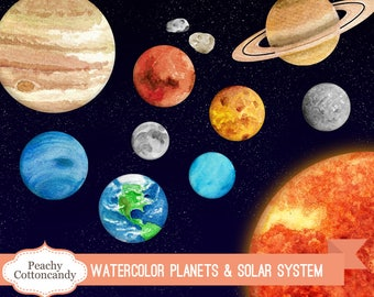 BUY 2 GET 1 FREE Watercolor Solar System Clipart - Planet Clipart - solar system clip art - space science clipart -Commercial Use Ok