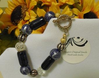 Blue Wood Silver Crystal African Style Chunky OOAK Handmade Bracelet