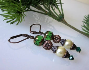 Bohemian earrings, Boho Jewelry, Antiqued Copper Pearl Earrings, Boho Earring Jewelry, Bohemian Dangle, Green Glass Earrings, Womens Jewelry