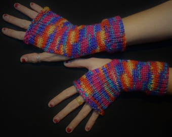 Rainbow Brite Arm Shyne - Fingerless Arm Warmers - Fingerless Gloves