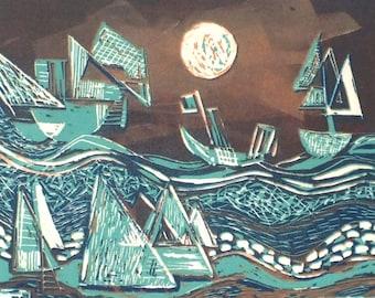 After Paul Klee #4, Linocut