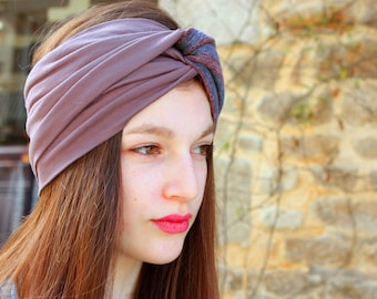 Two-tone headband Turban headband Brown-purple and striped Heather grey-purple. Retro Turban hair