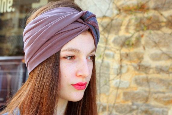 Two-tone headband Turban headband Brown-purple and striped Heather grey-purple. Retro Turban hair