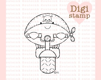 Biker Crab Digital Stamp for Card Making, Paper Crafts, Scrapbooking, Hand Embroidery, Invitations, Stickers, Coloring Pages