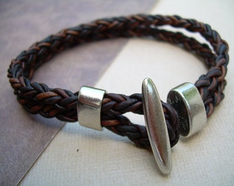 Antique Brown Braided Leather Bracelet with Toggle Clasp, Leather Bracelet, Mens Leather Bracelet, Mens Jewelry, Leather Jewelry, Bracelet