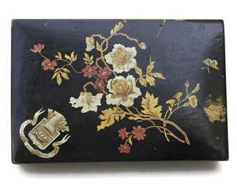 Antique Thimble Box. French Advertising Black Lacquered Box. Needlework Box With Flower Decoupage.